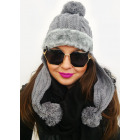 A1249 Women Winter Cap, Furry Cuff and Pompons