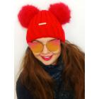 C1980 Lovely Women's Hat, 2 Fur Pompoms
