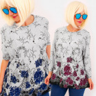 4706 Loose Blouse, Large Size, Lace Flowers