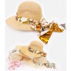 C1919 Beau chapeau de plage d'été, avec ruban