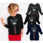 N069 - Sweat-shirt femme en coton, chat brillant