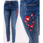 B16756 Women Jeans, Floral Embroidery and Jets