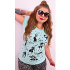 G1203 T-Shirt coton pour femmes, haut, chats drôle