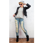 B16670 Women Jeans with Belt, Great Holes,Crystals