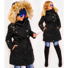 4410 Long Women's Jacket with Fur, Black