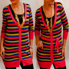 D14107 Sweater Women Tunic Dress, Colorful Stripes