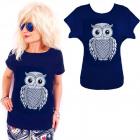 K593 Cotton T-Shirt , Top, Funny Owl, Navy