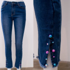 B16844 Beautiful Jeans Pants With Rainbow Beads