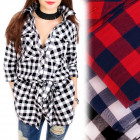 BI652 Long, Loose Shirt, Tunic, Lattice