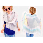 A1231 Large Scarf, Wide Shawl, Pastel Straps