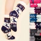 4177 Warme lange Socken, ABS-Hausschuhe, Fell