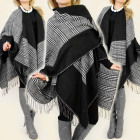 Women's Poncho, Small Check Pattern and Tassel