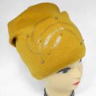 CZ04 Warmer Damenhut mit Perlen und Fleece