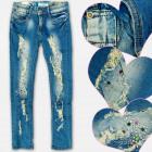 A19191 Jeans Fille Pantalons, Perles et Trous, 8-1