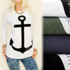 K454 Cotton Blouse, Long Sleeve, Anchor Ship