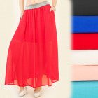 BI475 Airy, Long Maxi Skirt, Decorative Belt