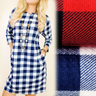 C11291 Loose Dress, Autumn Tunic, Lattice