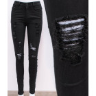B16752 Black Women Skinny Jeans, Holes