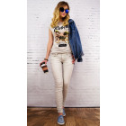 B16671 Women Pants Jeans, Embossed Pattern