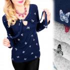 C11437 Schöne Bluse, gebundener Ausschnitt, Schmet