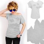 A890 Cotton T-Shirt , Top, Subtle Roses, Gray
