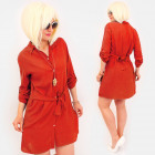 R93 Tied Dress, Loose Tunic, Shirt, Red