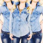 BI622 Fashionable blouse, Jeans shirt, Polka dot p