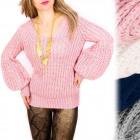 A898 Trendy Women Sweater mit V-Ausschnitt und Luf