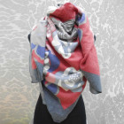 A1819 Large Scarf, Plaid, Warm Knitwear, Flowers