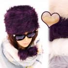 B10A39 Fur Women's Cap, Toczek, With Pompons