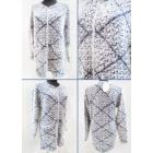 K50 Lange Strickjacke, Damenpullover, Romby-Muster