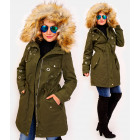 4411 Long Womens Jacket with Fur, Khaki
