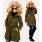 4411 Long Women Jacket with Fur, Khaki