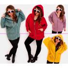 EM38 Damen Plus Size Jacke, Kimono, Boucle MIX
