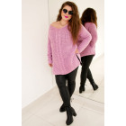 PL28 Long Woolen sweater with braid, lilac