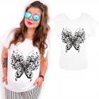 N058 Baumwollbluse, Übergröße, Schmetterling flieg