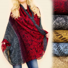 FL607 Scarf, Shawl, shaded Colors, Curious Pattern