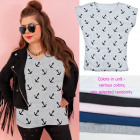 Women Shirt, Blouse cotton , M-2XL, Anchors, 5429