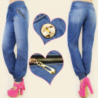 BI279 LOOSE JEANS, PUMPS, GOLD SLIDERS