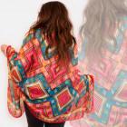 O08 Long châle, écharpe, grand, motif coloré