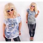 BI721 Women Blouse, Tunic, Wide Frill & Fine Print