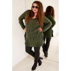 PL27 Long woolen sweater with braid, Khaki