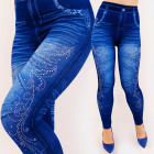 4711 Women Leggings Jeans, Glossy Jets, Showy Look