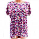 Cotton Womens Shirt, M-3XL, Flowers, 5232