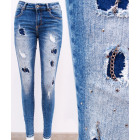 B16758 Shaded Women Jeans, Holes and Chain