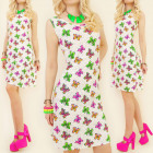 K418 SUMMER DRESS, NEON BUTTERFLIES, STRIPES