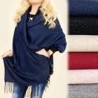 FL621 Warm Shawl, Plaid, Wrap, Silver Thread