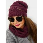 Ensemble hiver femme A1266: casquette + écharpe, b