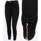 B16769 Women Jeans, Sliders and Bows, Black