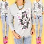 A821 Baumwolle Damen Sweatshirt, Dinge With love t